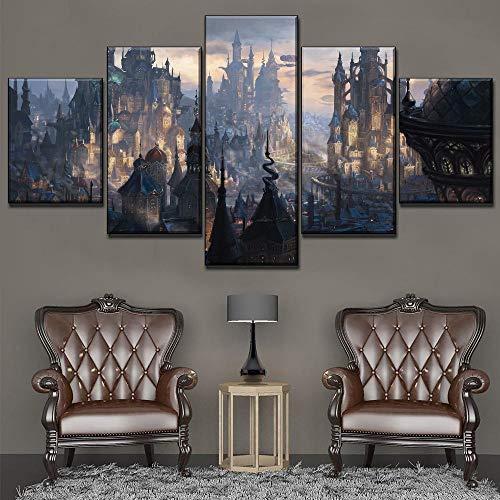 rkmaster-Hauptmalerei Wandkunstwerk Modulare Bild Hd Druck 5 Panel Steampunk Fantasie Stadt Druckplakat Leinwand Wohnzimmer Dekoration Rahmen