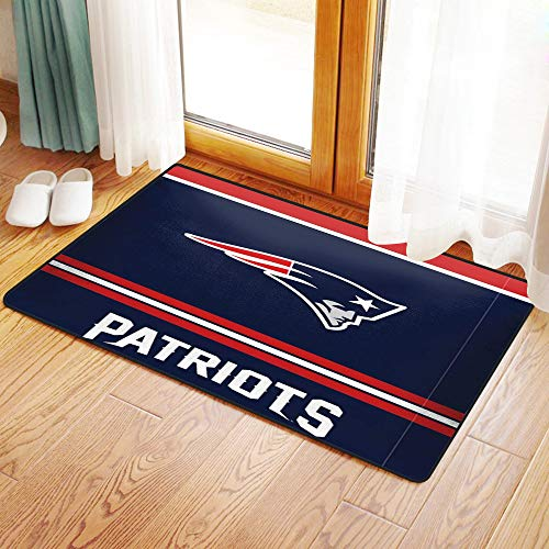 Mingdao Küche Matte, Fußmatte Badezimmer Dusche Teppiche für Wohnzimmer Rugby-Team New England Patriots Einfarbiger Hintergrund Künstlerisches kreatives Thema, Mikrofaser-Badezimmermatte 50x80 cm
