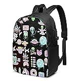 XCNGG Aliens Kawaii Travel Laptop Backpack, Mochila con Puerto de Carga USB, para Hombres y Mujeres, se Adapta a 17 Pulgadas