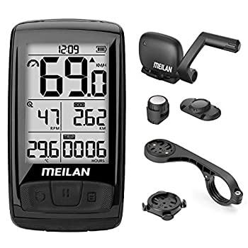 MEILAN M4 Wireless Bike Computer ANT+ BLE4.0 Bicycle Speedometer and Odometer with Cadence/Speed Sensor Waterproof Cycling Computer with 2.5 inch LCD Backlight Display for Indoor/Outdoor Cycling