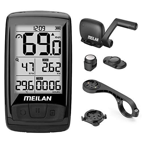 """MEILAN M4 Fahrradcomputer Drahtlos, ANT+ BLE4.0 Fahrradtacho Kabellos mit Geschwindigkeitssensor und Trittfrequenzsensor, Wasserdichter Fahrrad Tachometer mit 2,5"""" LCD Hintergrundbeleuchtung"""