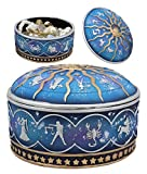 Ebros Gift Ancient Greek Astrological Horoscopes Zodiac Constellations With Sun And Moon Lid Decorative Trinket Box Figurine 4' Diameter In Royal Dreamy Blue And Gold Finish Jewelry Stash Container