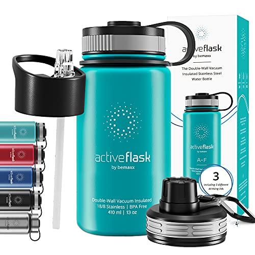Botella de Agua Térmica Active Flask + Pajita (3 Tapones) sin BPA - 1l & 500ml | Frasco Termo de Acero Inoxidable + Aislamiento Vacío | Cantimplora Aislada Bicicleta Deporte Caliente Fría