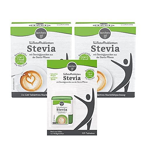 borchers Stevia Süßstofftabletten Vorteilspack . Süßungsmittel . Zuckerersatz . Tablettenspender 120 Tbl. + 2 x Nachfüllpack