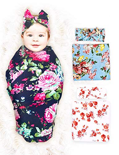 LifelyBear 3 Pack Baby Swaddle Blanket Set Newborn Baby Wrap...