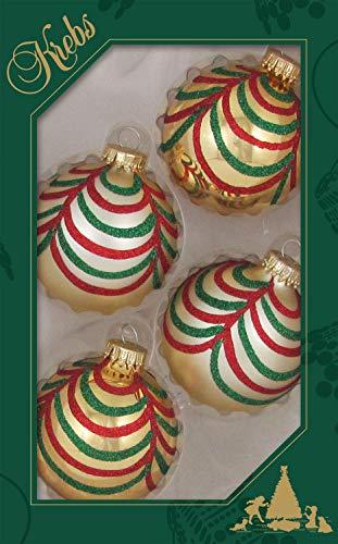 Krebs Glas Lauscha - 4 gouden kerstballen met slinger-decoratie - 7 cm - 4 stuks