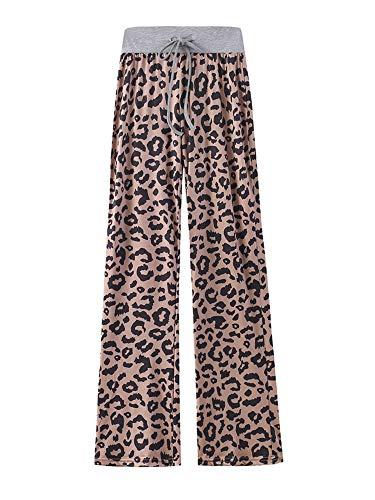 Kelinfei Women Drawstring Palazzo Wide Leg Lounge Pants Pajama Pants Sleepwear Yoga Pants (Coffee, XXXL)