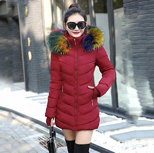 Womens Parka Black Winter Jacket Elegant Ultra Large Fur Collar Down Cotton-Padded Jacket Plus Size Winter Coat Parka Burgundy M