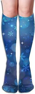 xinfub, Tubo Unisex Calcetines Largos Azul Copo de Nieve sobre la Pantorrilla Calcetines de compresión de Media Deportiva Informal Cómodo10316