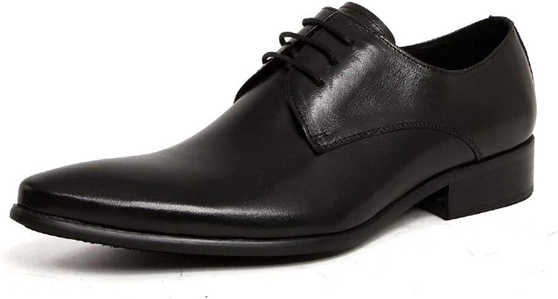 Manliga läderskor, vårskor för höstflyg, Comfort Mode Point Point Point Toe skor, Formal Dress skor, bröllop Party & Evening (Färg  svart, Storlek  42)  trendig