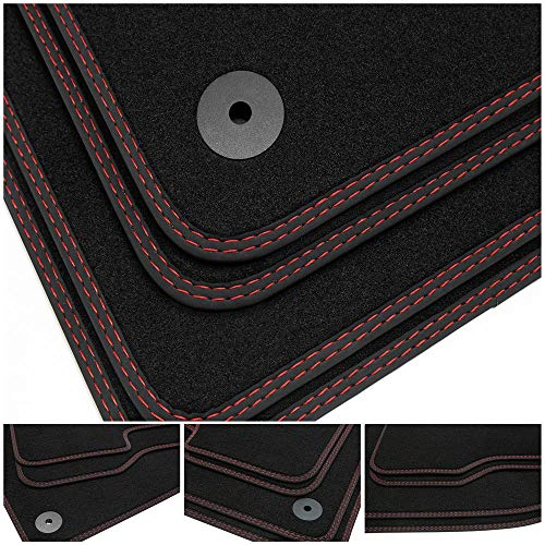 tuning-art BDN154 Alfombrillas de Coche, Costuras Dobles, Costura:2X Rojo