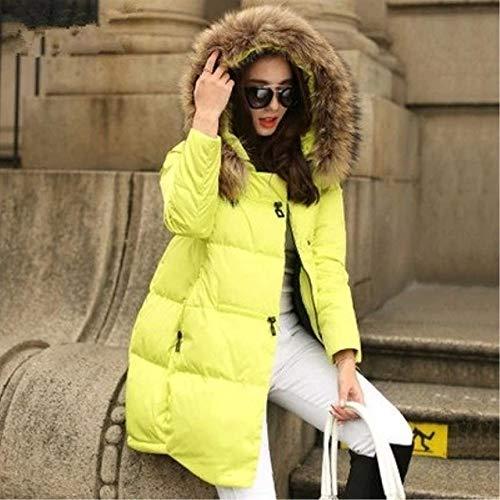 WEIYYY Chaqueta de Abrigo Chaqueta de Invierno con Capucha as para Mujer 2020 Nueva Chaqueta Suelta para Mujer Ropa de Abrigo de Cuello para Mujer Tallas Grandes 5XL, Amarillo, S