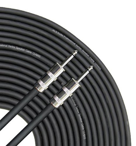 """GLS Audio Speaker Cable 1/4"""" to 1/4"""" - 12 AWG Professional Bass/Guitar Speaker Cable for Amp - Black, 50 Ft."""