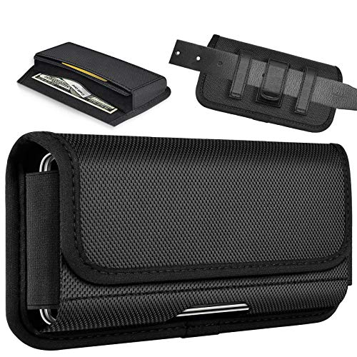 ykooe Rugged Nylon Holster Compatible iPhone 11, Pro, Max, Horizontal Carrying Phone Pouch Belt Holder Case for iPhone 8, 7, SE 2020, 6, 6S, Plus, X Xs Xr, Samsung Galaxy A11/S20 Moto LG Google