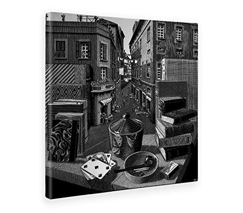 Giallobus - Cuadro - Impresion EN Lienzo - Escher - LA Naturaleza Muerta Y LA Calle - 100 x 100 CM