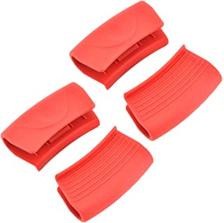 UPKOCH 4pcs Silicone Hot Handle Holder Heat Resistant Pot Handle Sleeve for Frying Pans Cookware Handles Griddles Red