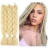 Jumbo Braiding Hair Pure Color Hair Extensions Blonde Kanekalon Braiding Hair 24Inch Synthetic High Temperature Fibre Hair for Crochet Twist Braids 3Pieces(blonde)