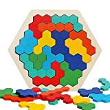 Wooden Hexagon Puzzle Brain Teasers Toy Tangram Jigsaw Shape Pattern Block Colorful Toy Geometry Logic IQ Game STEM Montessori Educational Gift for All Ages Kids Children Adults Boys Girls Challenge