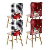 ASSR Fundas para sillas de Navidad de Papá Noel, 4 unidades, para decoración de sillas de Navidad de Buffalo