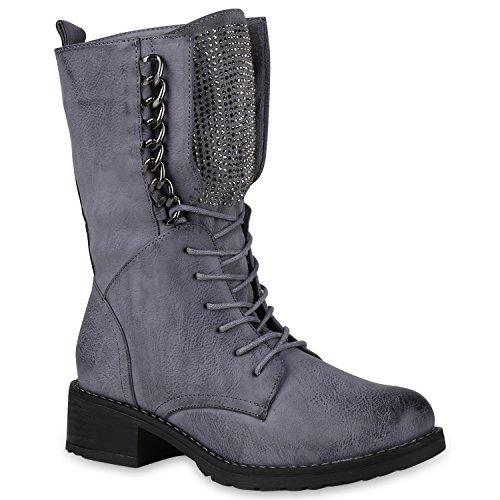 Damen Schnürstiefel Combat Boots Leicht Gefütterte Stiefel Ketten 149849 Blau Grau 38 Flandell