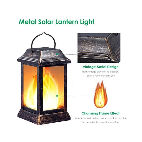 TomCare Solar Lights Metal Flickering Flame Solar Lantern Outdoor Hanging Lanterns Lighting Heavy Duty Solar Powered…