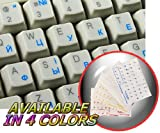 Ukrainian Russian Cyrillic Keyboard Stickers with Blue Lettering ON Transparent Background for Desktop, Laptop and Notebook