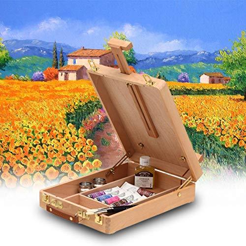 Caballete de arte portátil de filete de escritorio, caja de caballete de pintura, accesorios multifuncionales, para pintura, suministros de arte, caballete para principiantes