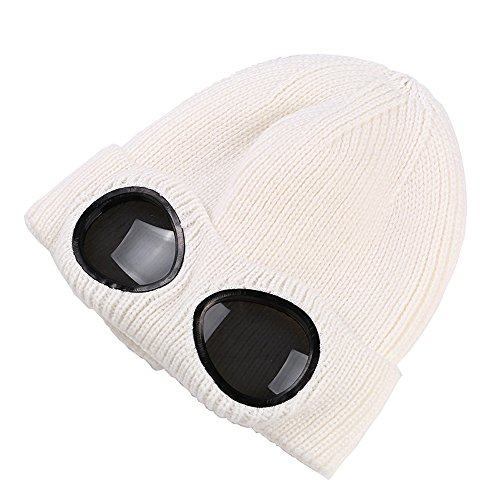 Unisex Wool Knitted Goggles Beanie, Warm Winter Stylish Hat Outdoor Sports Cap White