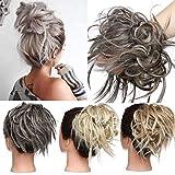 TESS Haargummi Haarteil Dutt mit Haaren Glatt struppige Haarknoten Hochsteckfrisuren günstig Haarverlängerung für Frauen 45g Grau