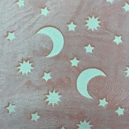 Entdecken Sie Lifestyle & Fashion Fabrics Stars & Moon Glow in The Dark Weiches Kuschel-Fleece, Basteldecke für Haustiere, 150 cm breit, Meterware Rose