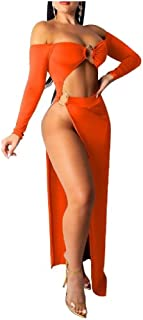 RkYAO Womens Formal Party Long Sleeve Slit Style Wrapped Chest Irregular Club Dress