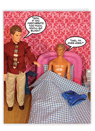 Funny Appreciation Card 'Wanker Birthday' with Envelope 8.5 x 11 Inch - Doll Father And Son Funny Masturbation Talk Greeting Card - Big Bday Card Gift J3601BDG