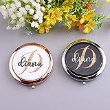 Espejo compacto personalizado para monedero, con monograma, para regalo de nombre inicial para su dama de honor, boda, recuerdo