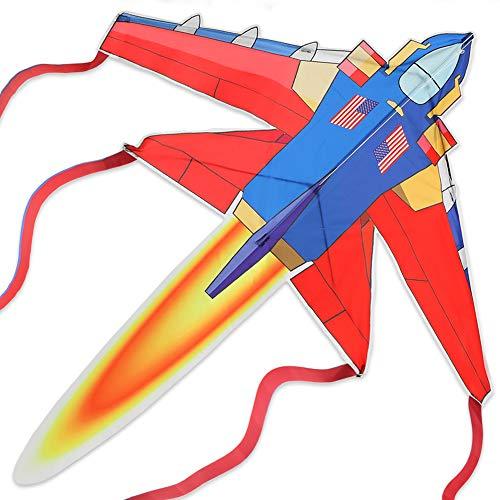 Drachen für Kinder ab 3 Jahren und Erwachsene - Fighter Plane - 120x140cm Einleiner Flugdrachen mit 50m Drachenschnur und 8 Streifenschwänze, Leicht zu Basteln und Steigen, Ganz cooles Outdoorspiel