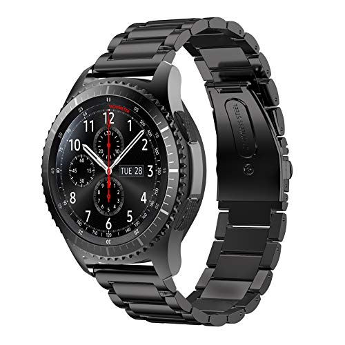 Syxinn Kompatibel mit Armband Galaxy Watch 3 45mm/Galaxy Watch 46mm/Gear S3 Frontier/Classic Armband, 22mm Edelstahl Metall Ersatz Verstellbare Uhrenarmbänd Strap Sports Armband für Samsung Gear S3