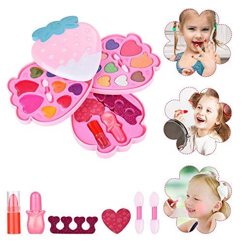 Ulikey Juguetes de Maquillaje Niñas, Juego de Maquillaje Lavables, Caja de Maquillaje, Maquillaje Niños Set Cosméticos Regalo de Princesa Cumpleaños y Navidad para Niños (Fresa Rosa)