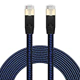 Cat 7 Ethernet Cable 25ft, Nylon Braided Heavy Duty High Speed Cat7 Cable Shielded Gigabit Flat Cat7 RJ45 LAN Cable Internet Network Patch Cord 10Gbps for Gaming PS4, Xbox One,Laptop,Modem, Router