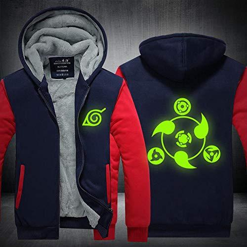 Men Zip Chandail à Capuchon Naruto Glowing Anime Autour Imprimé Réchauffez à Capuche Manteau Sport Broder Veste à Manches Longues O-M
