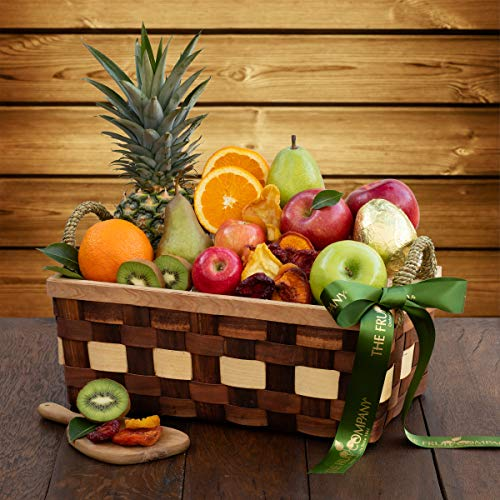 The Fruit Company Simply Fruit Basket - 14 Pieces Premium Fresh Fruit and a Dried Fruit Medley Hand-Packed in a Reusable Wooden Basket From Hood River, Oregon