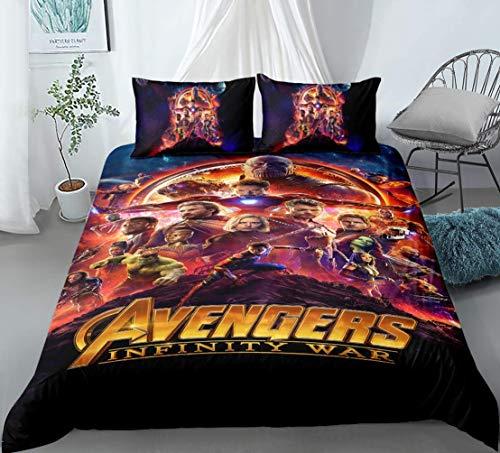 917 Bedding Set – Duvet Cover and Two Pillow Cases Microfibre 3D Digital Print Three-Piece Set The Avengers Children, 4, 230 * 260CM