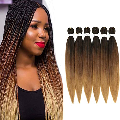 """Cheveux tressés pré-étirés 6 paquets/lot 26""""tresses faciles professionnelles en fibres synthétiques au crochet en fibre synthétique Yaki Texture extensions de cheveux (1B/30/27)"""