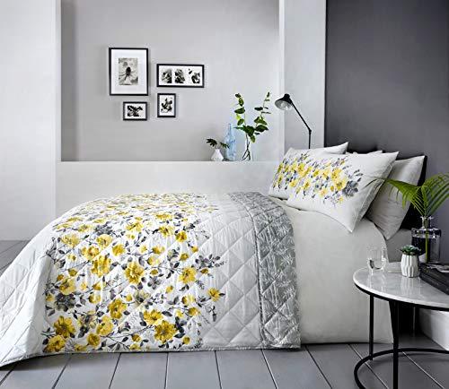 """DnD Wendbare Tagesdecke """"Gabriella"""" mit prächtigem Blumenmusterband vorne & Blättern auf der Rückseite, 229x 195cm, Ocker, Bedspread"""