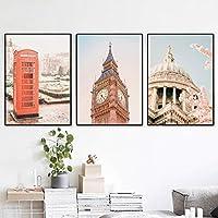 北欧スタイルのストリート風景風景キャンバスプリント写真ロンドンシティポスターリビングルームの家の装飾のための有名な壁の芸術(45x65cm)X3フレームレス