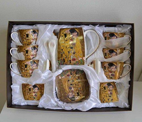 Atelier Harmony Gustav Klimt Tee- Kaffeeservice 21teilig Porzellan Motiv Der Kuss