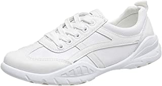 AUCDK Women Flat Sport Shoes Illuminate Strip Smooth Leather Trainers Casual Daily Running Fitness Sneakers