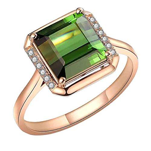Anillo de compromiso generoso de circonita esmeralda con anillo de turmalina verde...