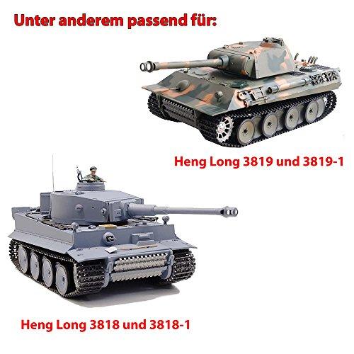 Original Metallketten von Heng Long, Upgrade Kit für u. a. German Tiger I und German Panther RC Panzer 3818, 3818-1, 3819, 3819-1, Ersatz-Ketten, Tank, RC Modellbau, Kettenfahrzeug, Ersatzteil