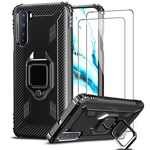 IMBZBK Cover for OnePlus NORD 5G Case + [2 Pack] OnePlus NORD 5G Screen Protector Tempered Glass, [360 Degree Rotation Finger Ring Kickstand] [Military Grade Drop Protection] Silicone-Black