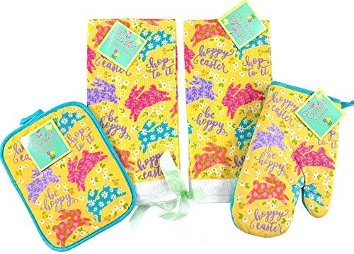 Easter Spring Kitchen Dish Towels Pot Holder Oven Mitt Set 5P Colorful Patterned Be Happy Hopping product image