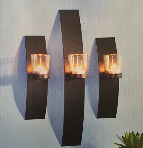 Modern und dekorativ 3er Wandkerzenhalter Set für Teelichter aus Metall mit Glaszylinder
